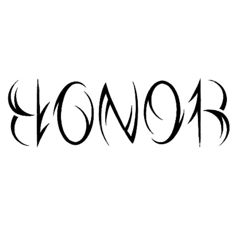 Amazing honor ambigram tattoo design