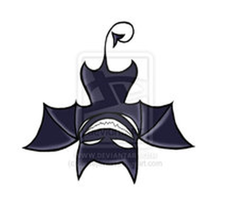 Amazing upside down bat tattoo design