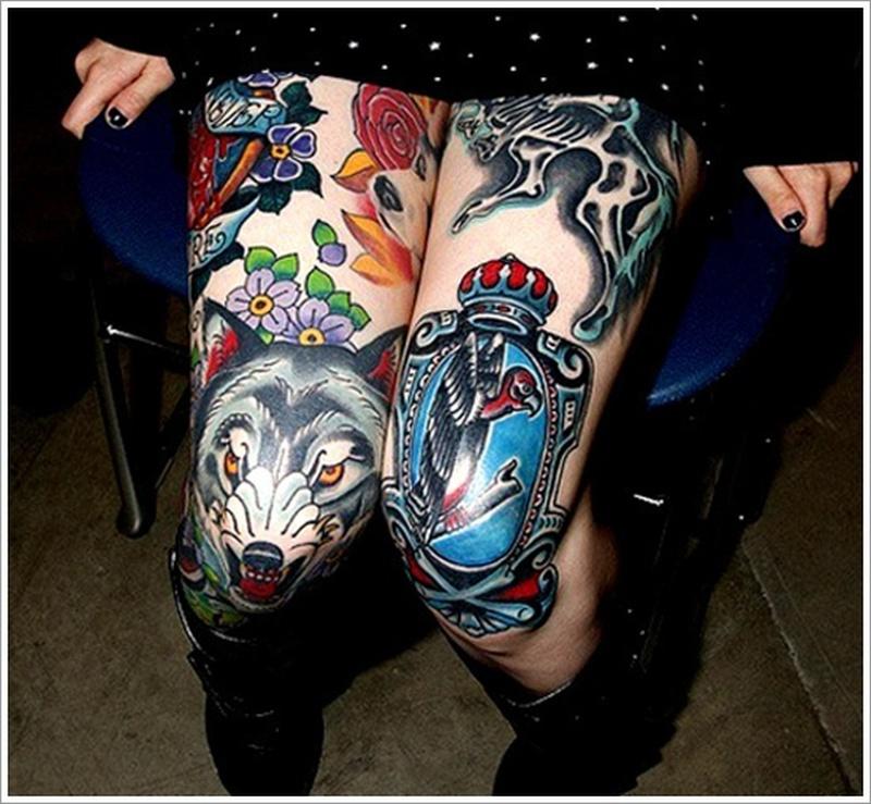 Amazing wolf head tattoo on knee