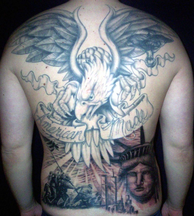 American eagle back tattoo