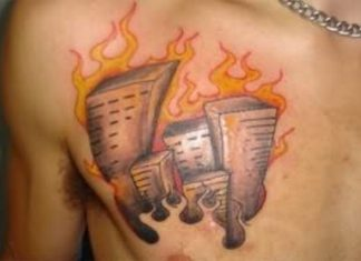 767bf5e5a Amp fire n flame tattoo on chest · Flame tattoos
