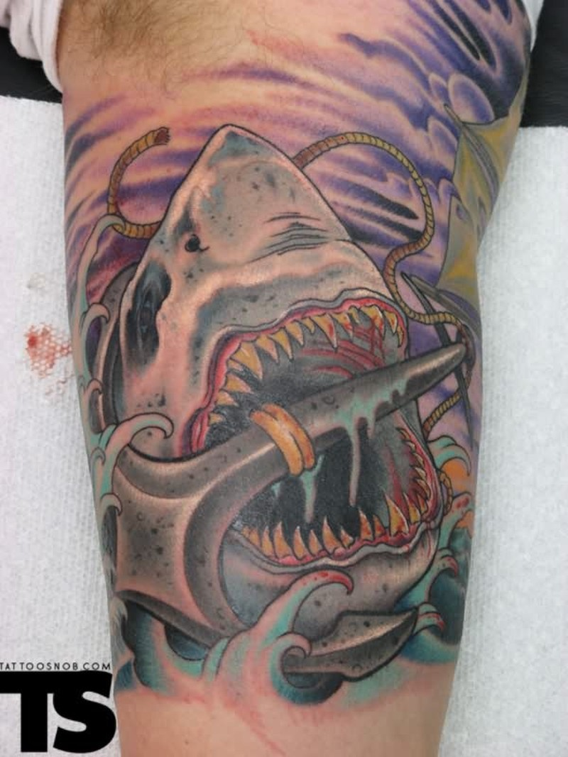 Anchor in shark mouth tattoo