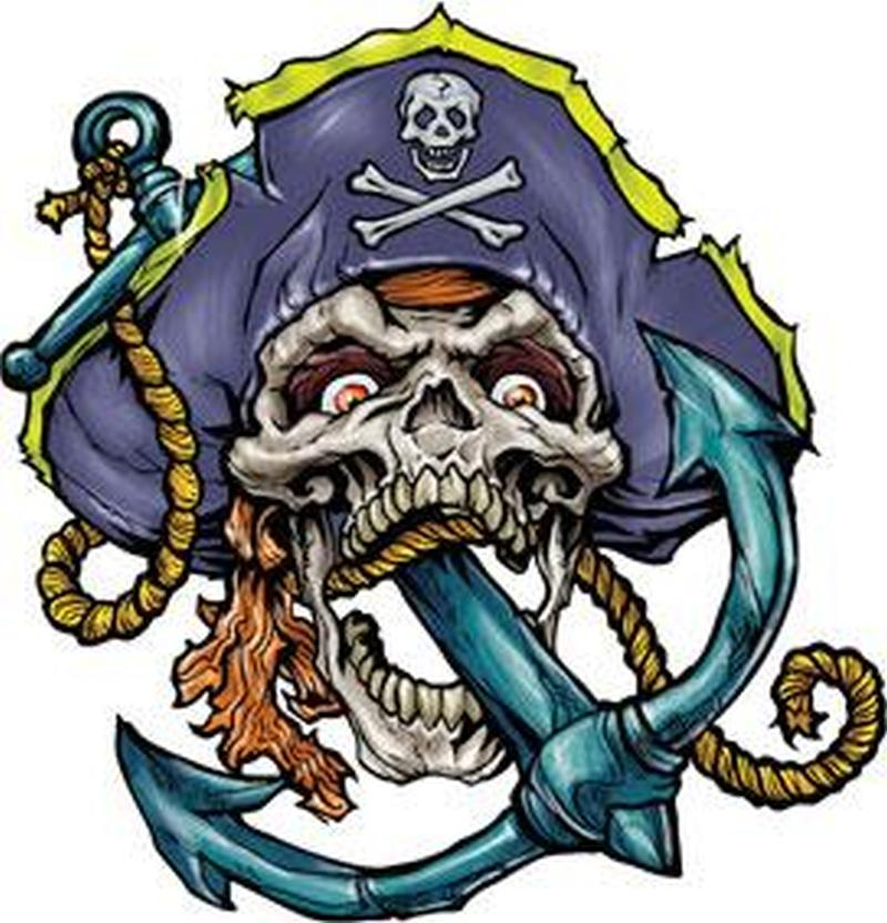 Anchor in skull mouth tattoo