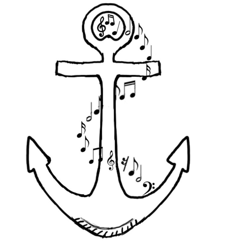 Anchor tattoo design with musical symbols