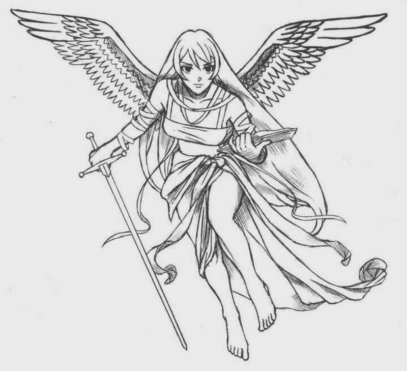angel girl holding sword book tattoo design tattoos book tattoos designs. Black Bedroom Furniture Sets. Home Design Ideas