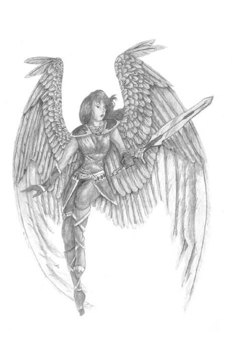 angel girl with sword tattoo design tattoos book tattoos designs. Black Bedroom Furniture Sets. Home Design Ideas