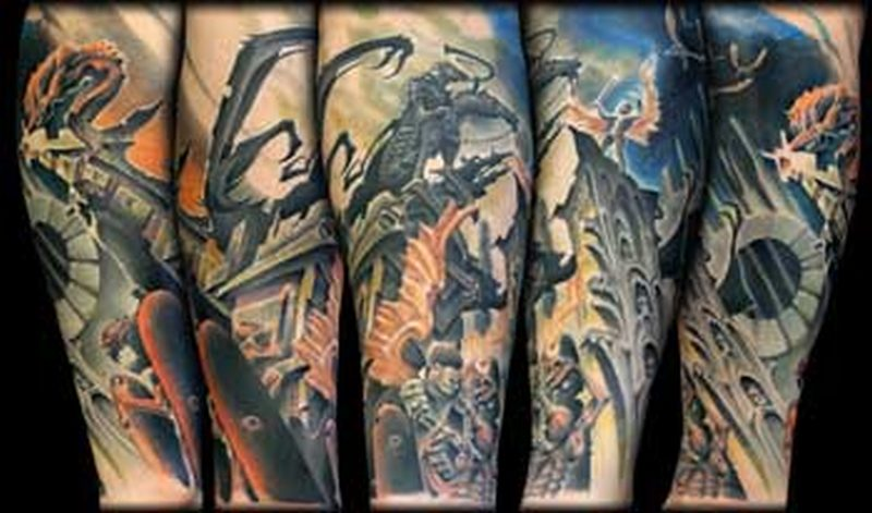 angel n demon full sleeve tattoo tattoos book tattoos designs. Black Bedroom Furniture Sets. Home Design Ideas