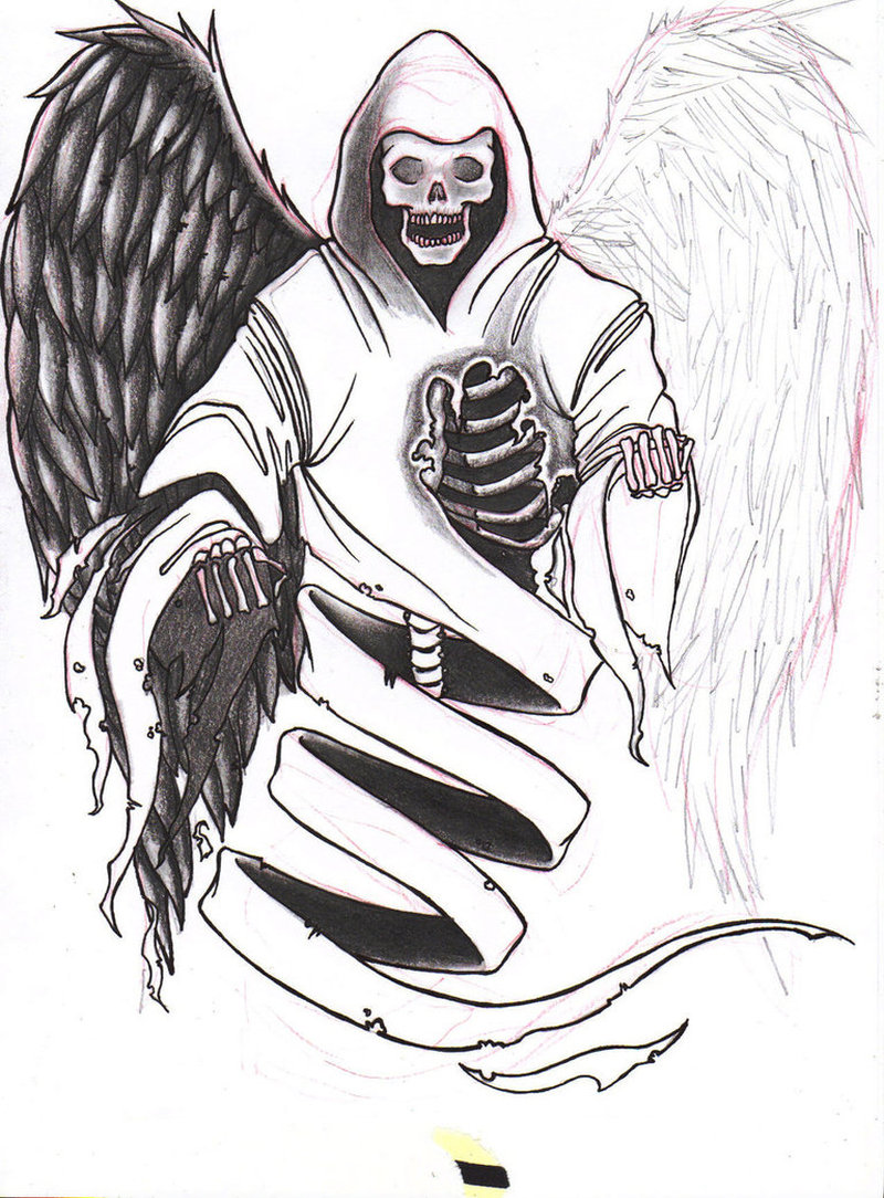 Angel of death tattoo drawing
