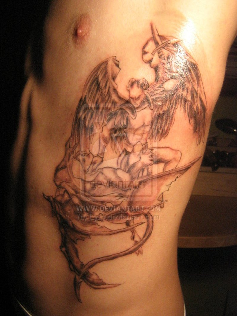 angel vs demon tattoo on side rib tattoos book tattoos designs. Black Bedroom Furniture Sets. Home Design Ideas