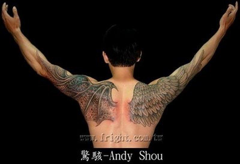 Angel Wings Tattoo Design On Arm Shoulder Back Tattoos Book