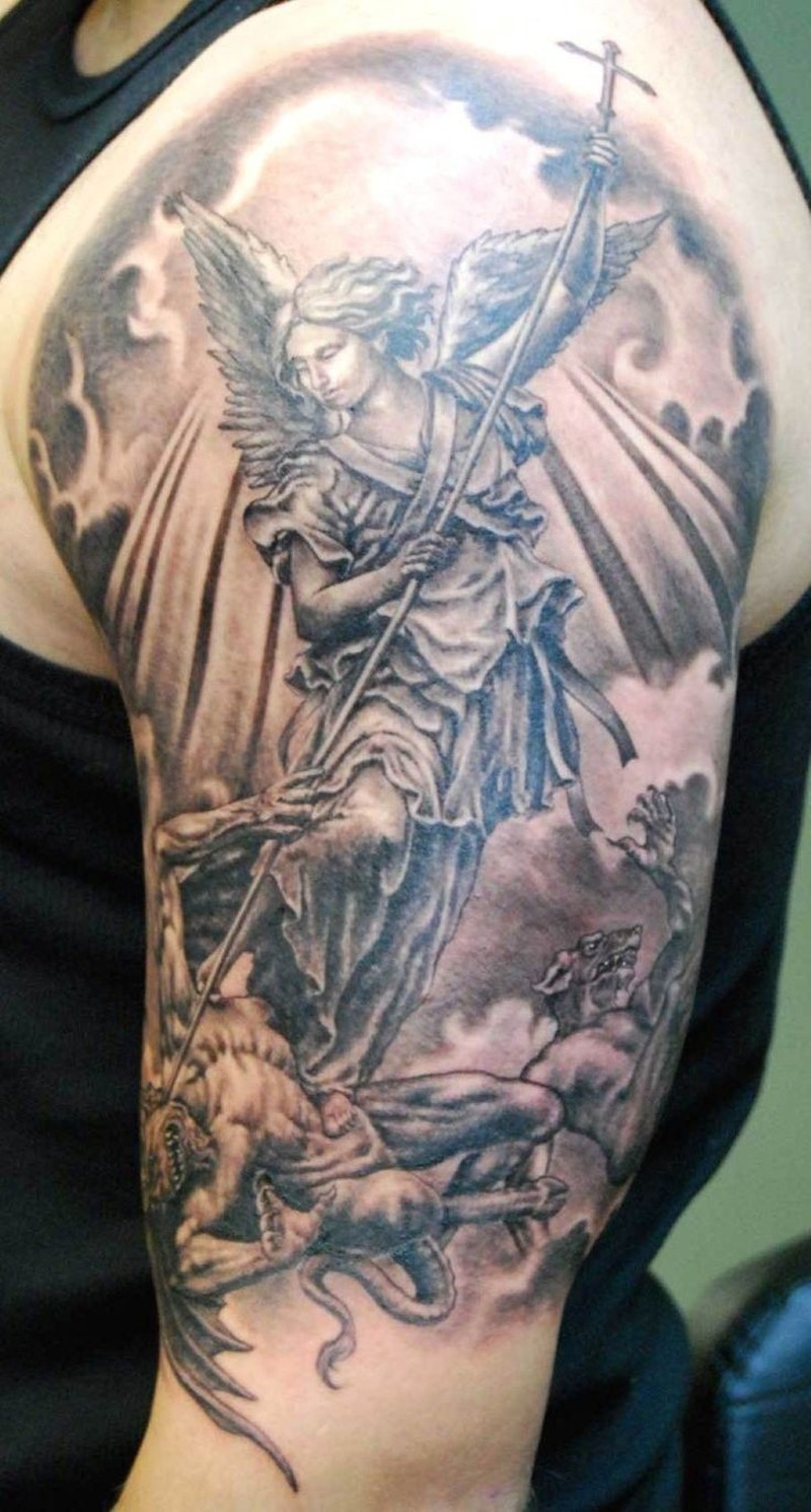 Angel winner evil tattoo on half sleeve