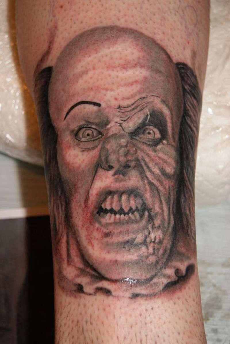 Angry clown tattoo