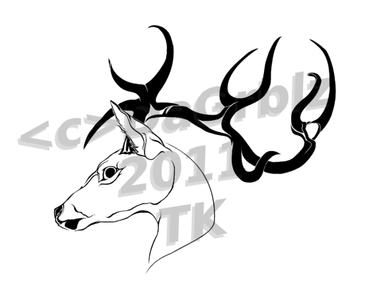 Animal deer tattoo design