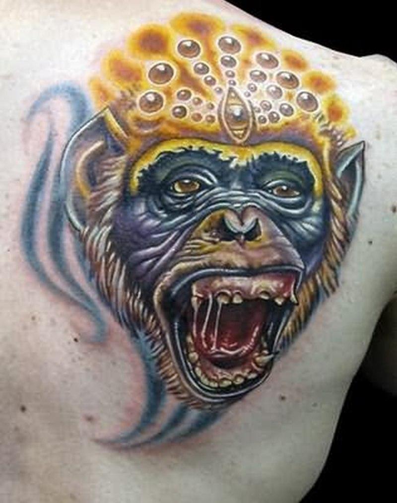 Animated monkey face tattoo tattoos book for Monkey face tattoo