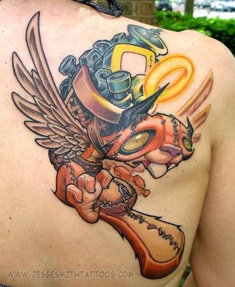 animated tattoo design on back shoulder tattoos book tattoos designs. Black Bedroom Furniture Sets. Home Design Ideas