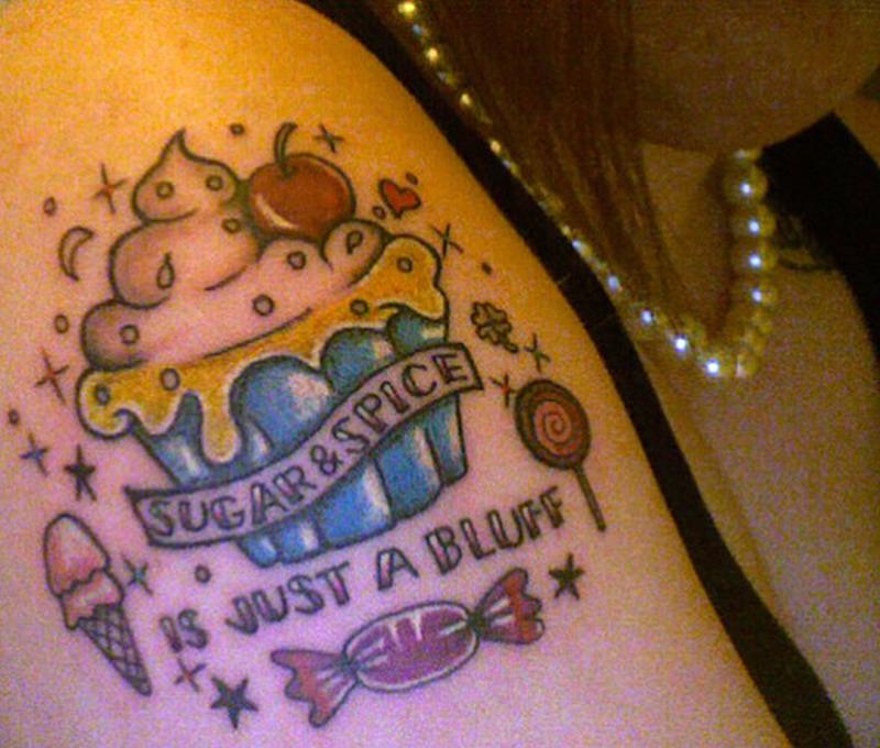 Another cherry cake tattoo design