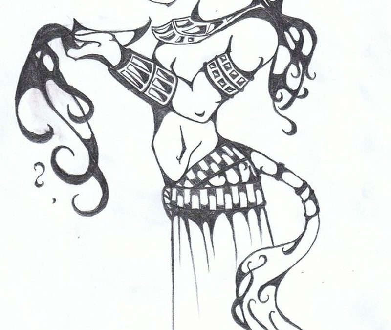 Anubis fantasy tattoo sketch