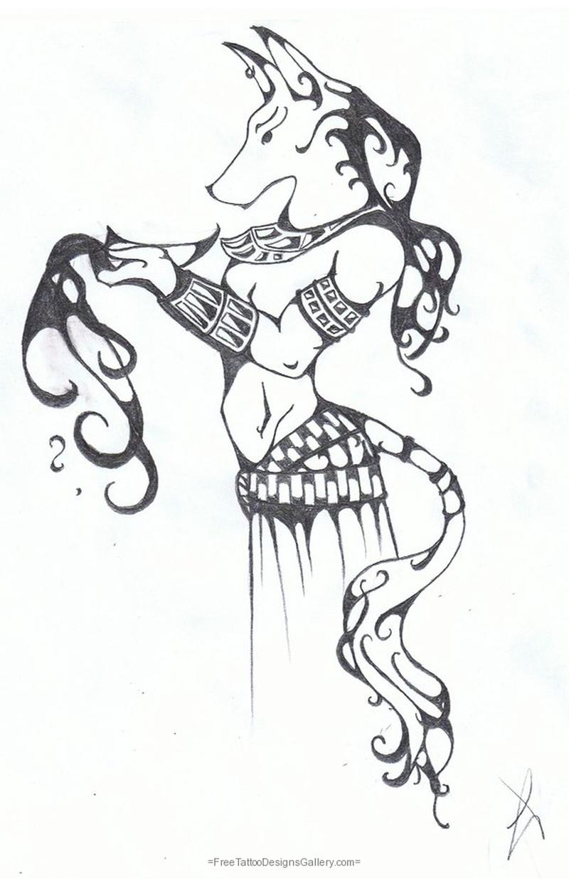 Anubis fantasy tattoo sketch