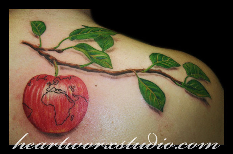 Apple branch tattoo