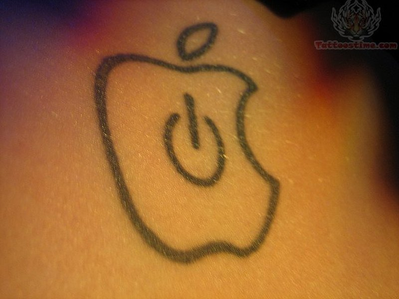 Apple power button outline tattoo design