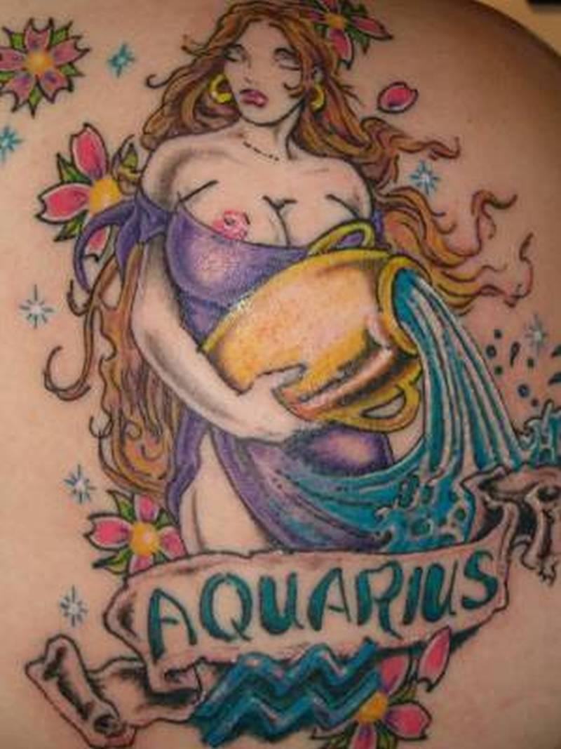 Aquarius woman tattoo design