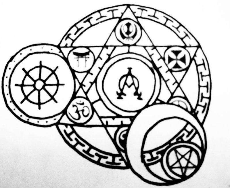 Arcane religious circle tattoo design