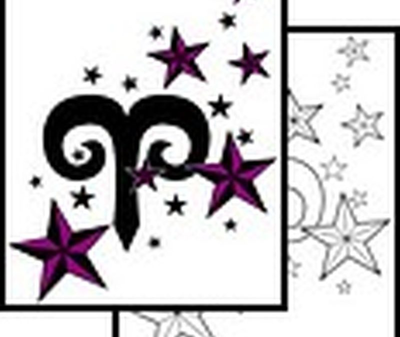 Aries symbol tattoo with stars