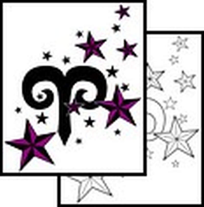 Aries symbol tattoo with stars