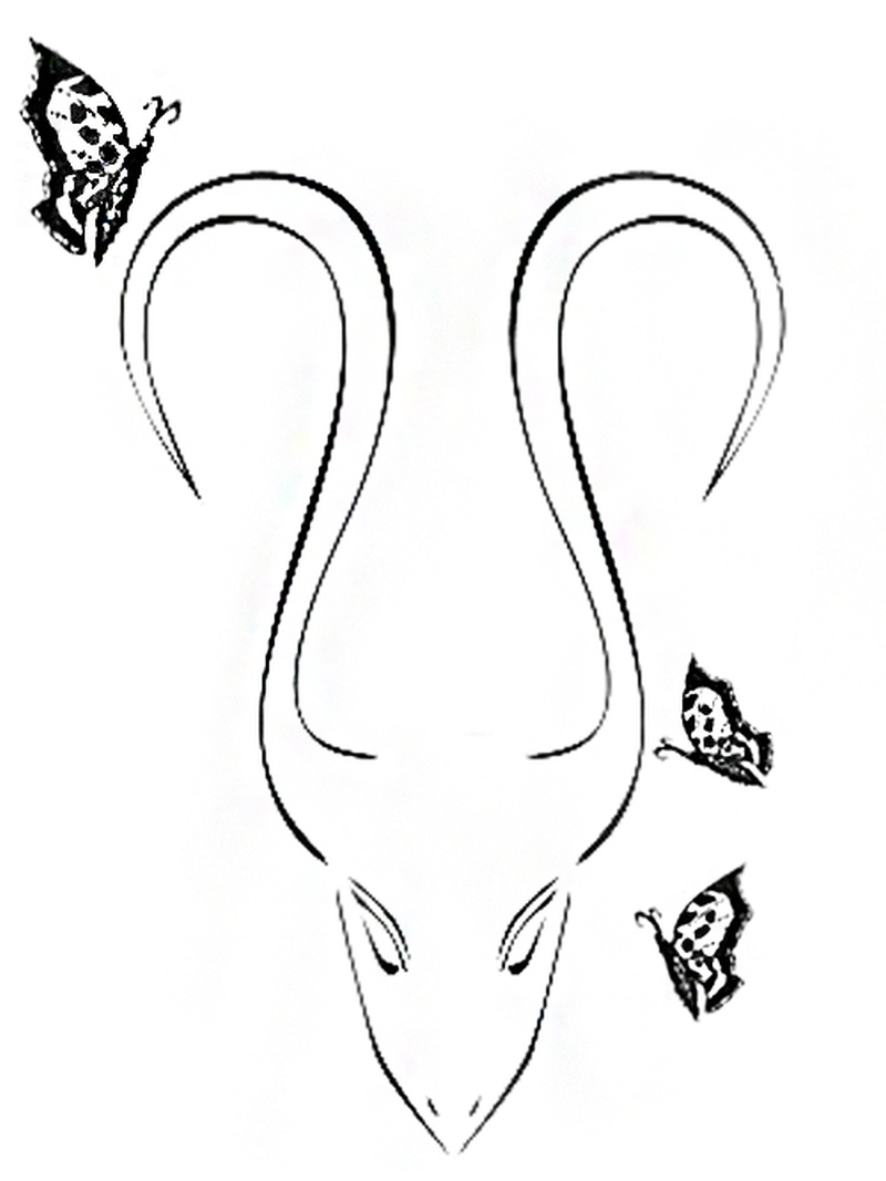 Aries tattoo with butterflies