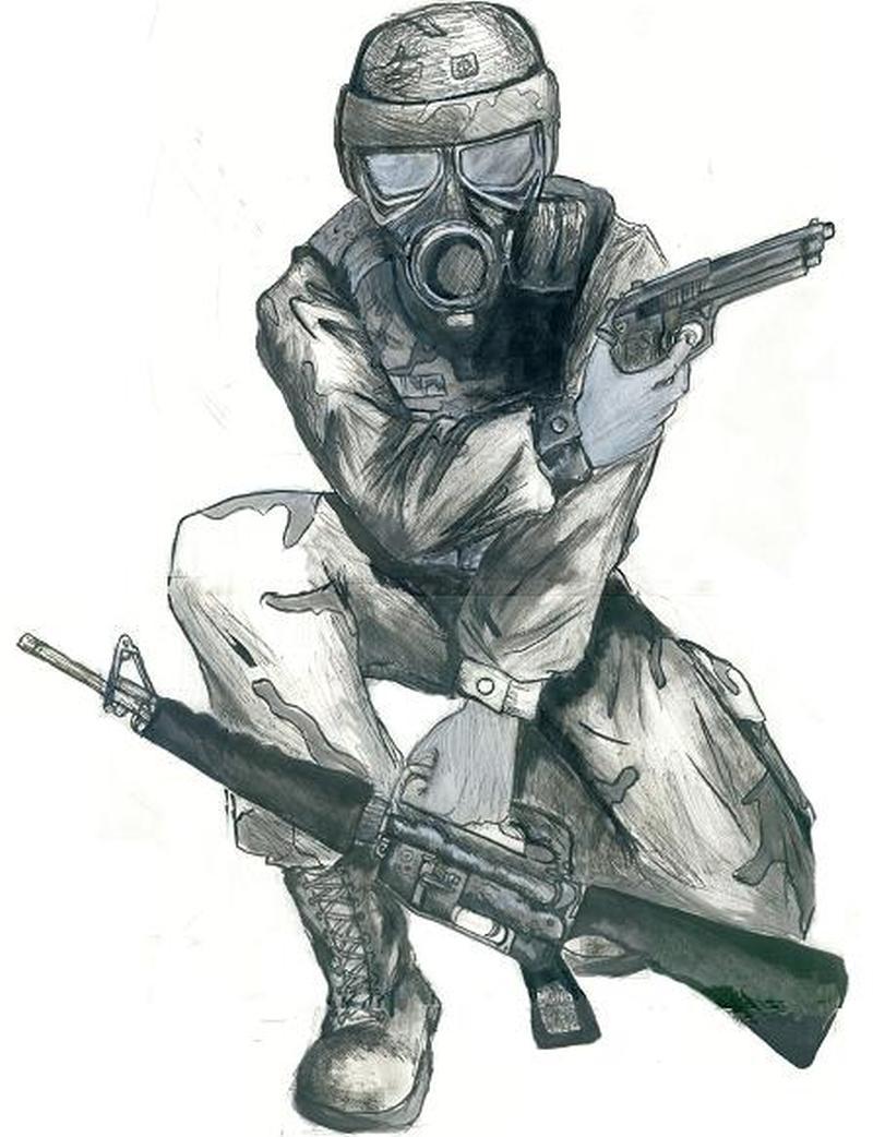 Army man with his gun tattoo