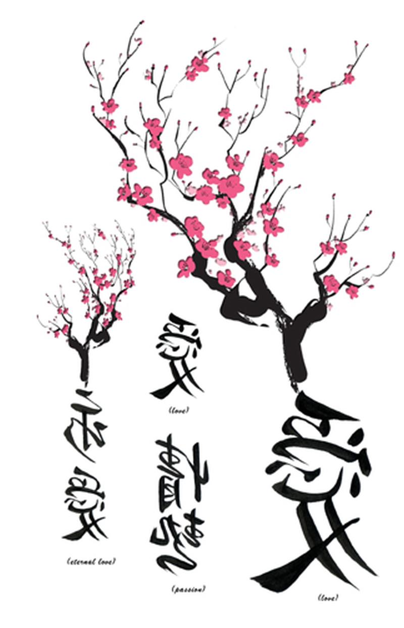 asian cherry blossom temporary tattoo design - tattoos book