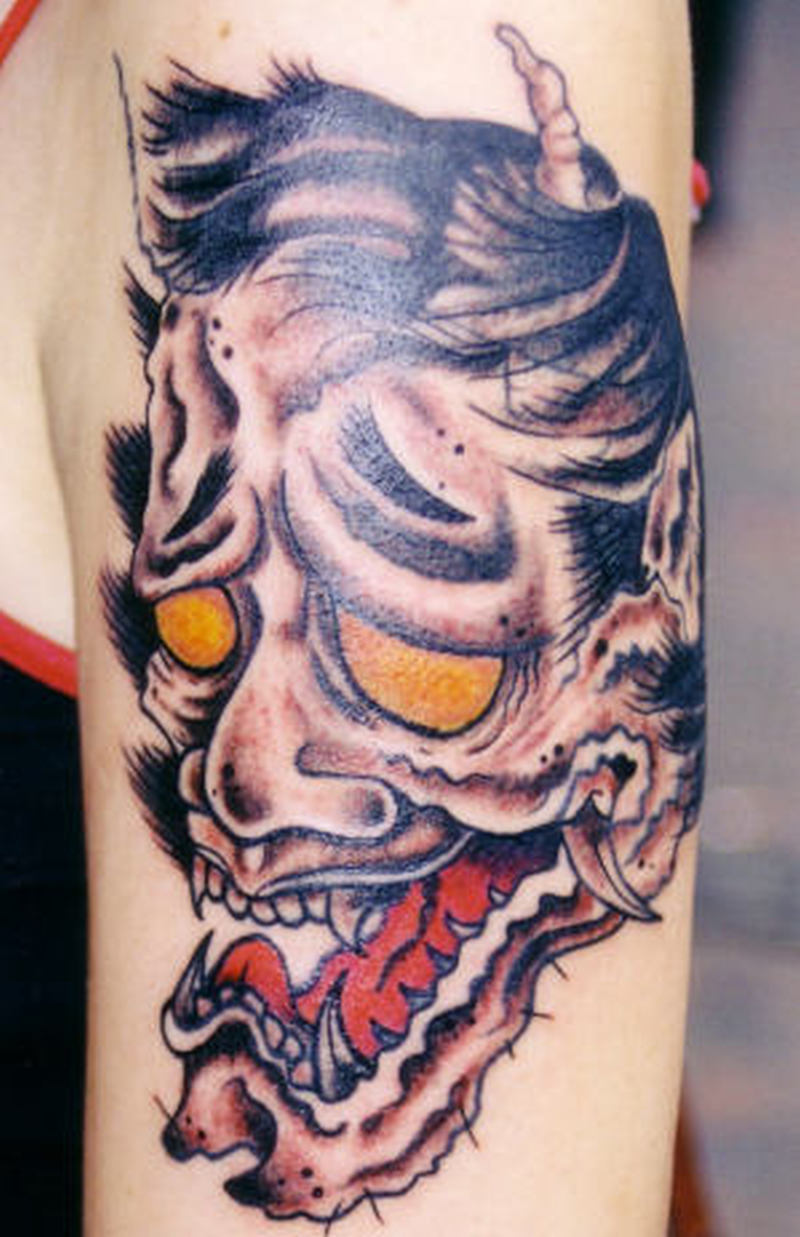 Asian devil face tattoo design tattoos book for Asian face tattoos