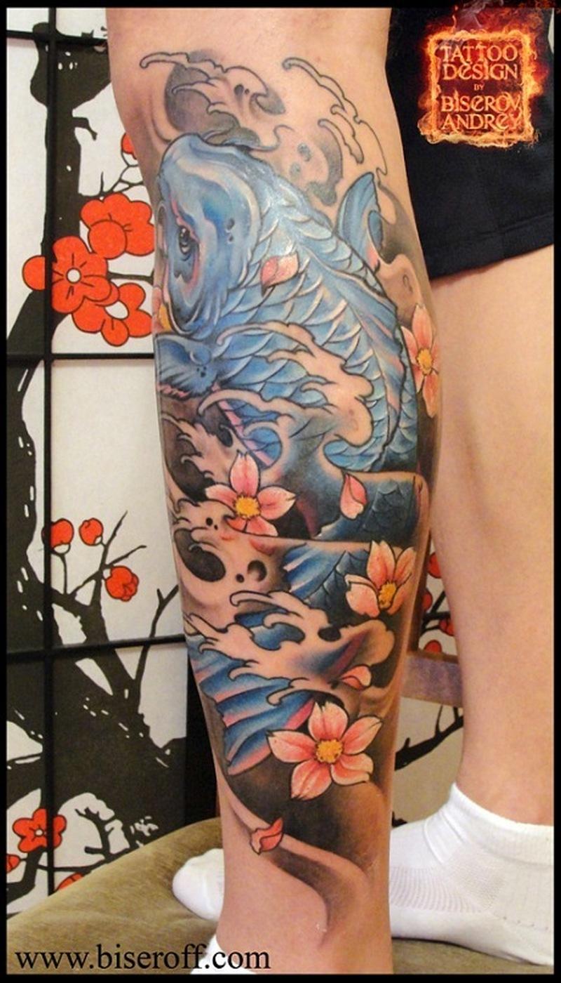 asian koi fish tattoo design on leg tattoos book. Black Bedroom Furniture Sets. Home Design Ideas