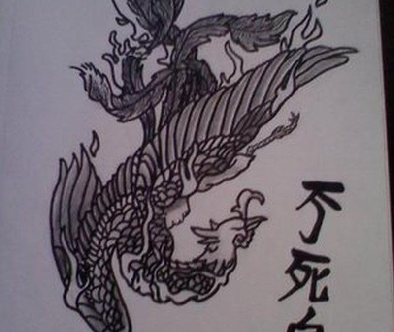 Asian phoenix tattoo design