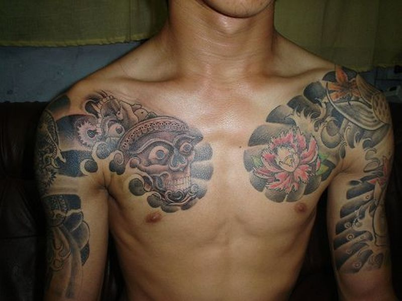 asian tattoo on chest arm for men tattoos book tattoos designs. Black Bedroom Furniture Sets. Home Design Ideas