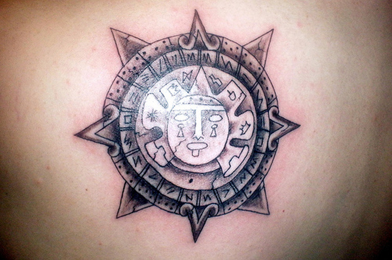 Attractive aztec calendar tattoo