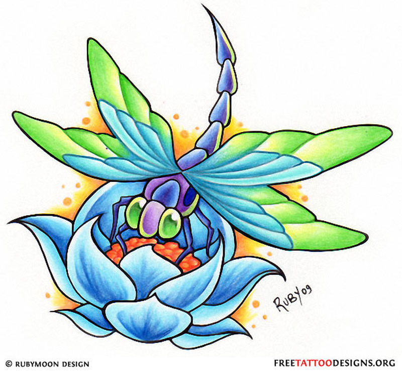 Attractive Dragonfly N Lotus Tattoo Design Tattoos Book 65000