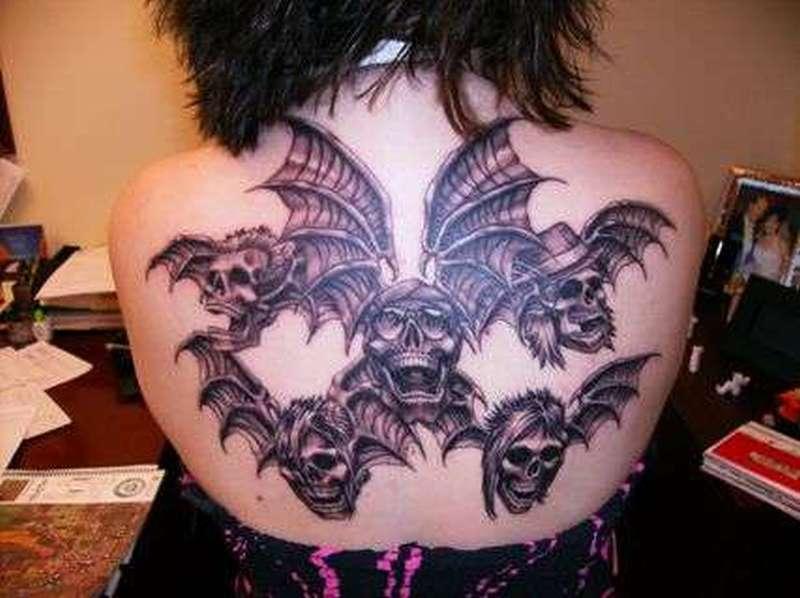Avenged sevenfold deathbats tattoo on back