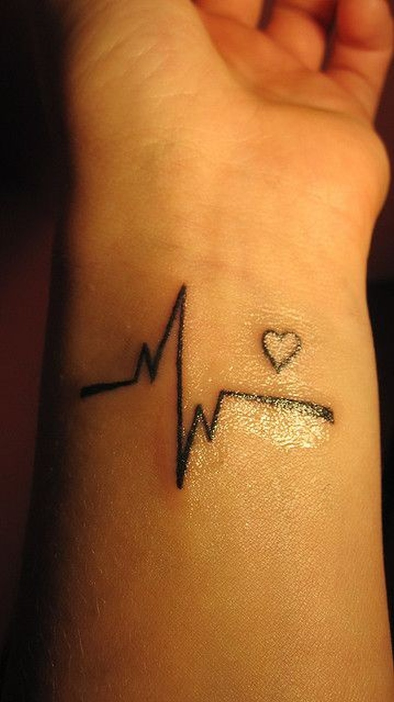 awesome black ink heart cardiogram tattoo on wrist tattoos book. Black Bedroom Furniture Sets. Home Design Ideas