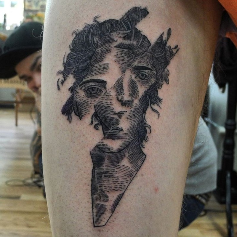 Awesome black lines portrait of men tattoo on hip for Pelvic tattoos for guys