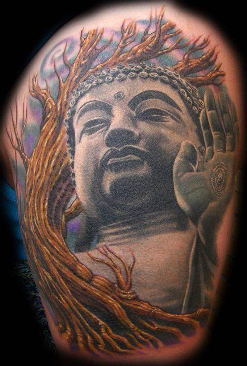 Awesome buddha religious tattoo image