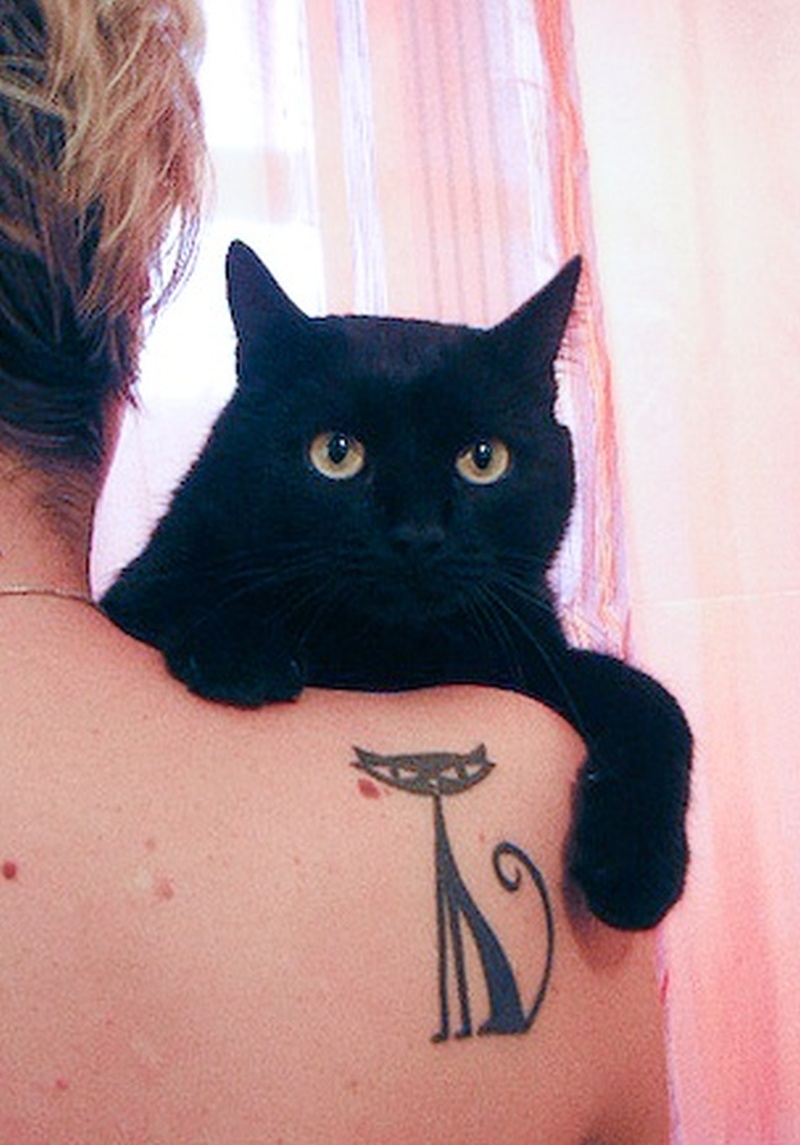 Awesome cat figure tattoo on shoulder back Tattoos Book