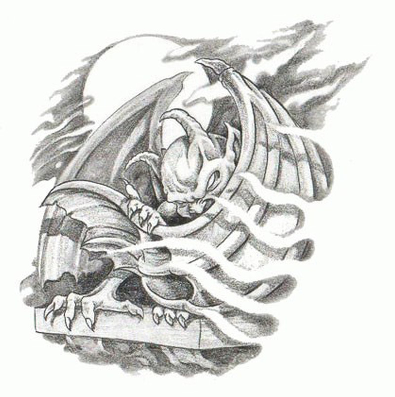 361c0a6bb2207 Awesome gargoyle tattoo stencil - Tattoos Book - 65.000 Tattoos Designs