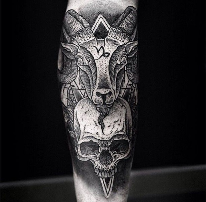 awesome goat head and skull with sacred sumbols dotwork forearm tattoo tattoos book. Black Bedroom Furniture Sets. Home Design Ideas