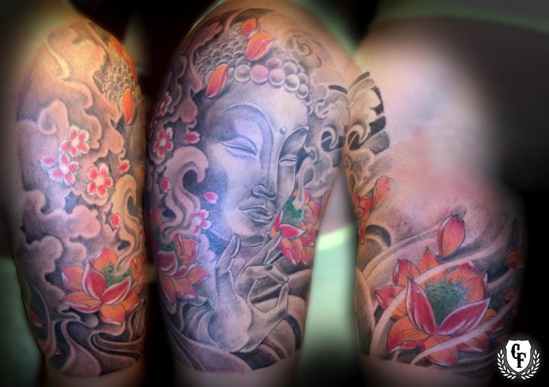 Awesome half sleeve buddha tattoo design