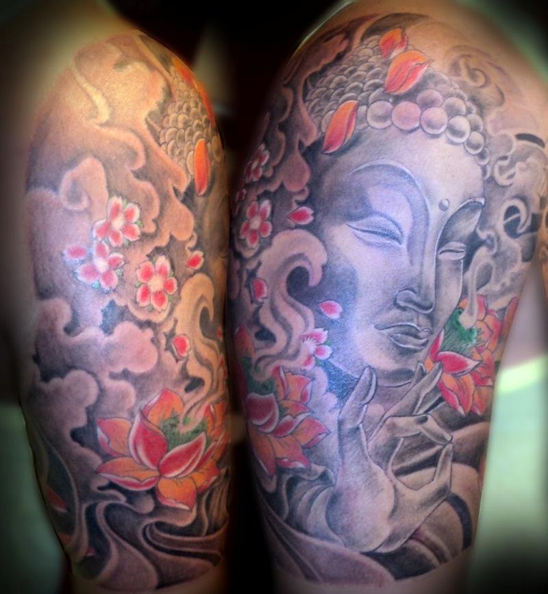 Awesome half sleeve buddhist tattoo design