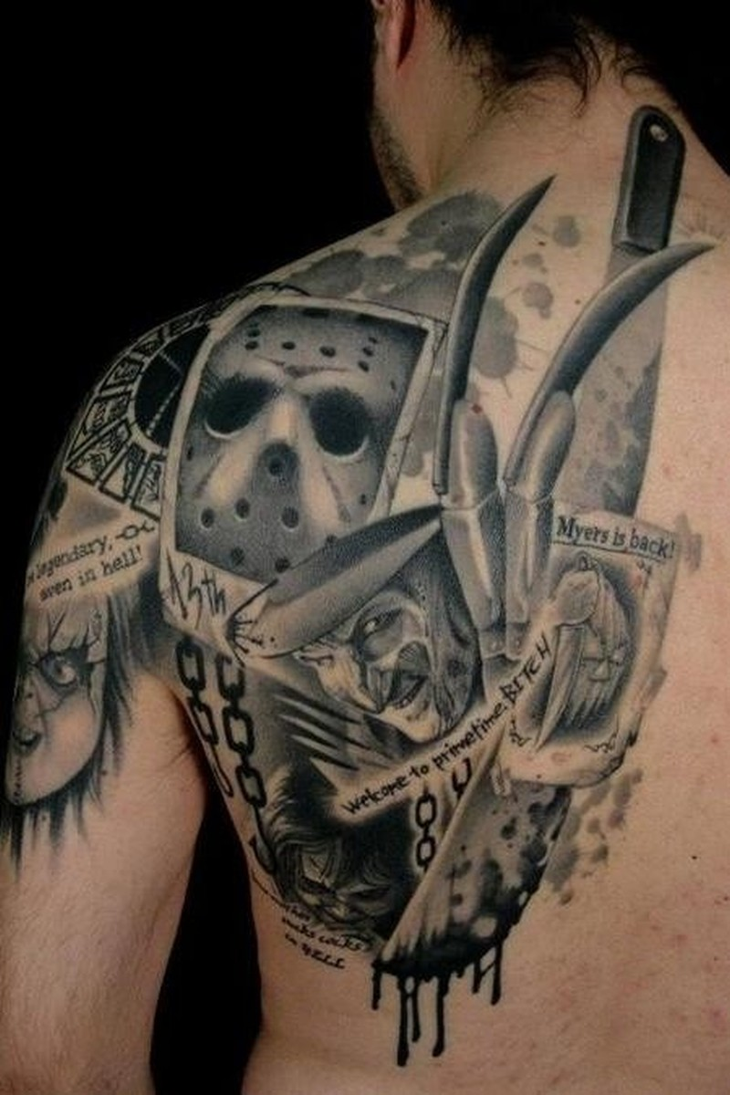 Awesome horror movie tattoo on back
