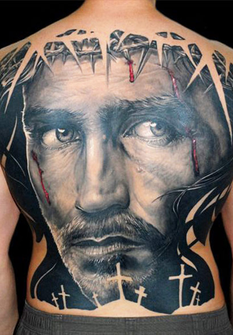 ac2f68176 Awesome jesus face portrait tattoo on full back - Tattoos Book ...