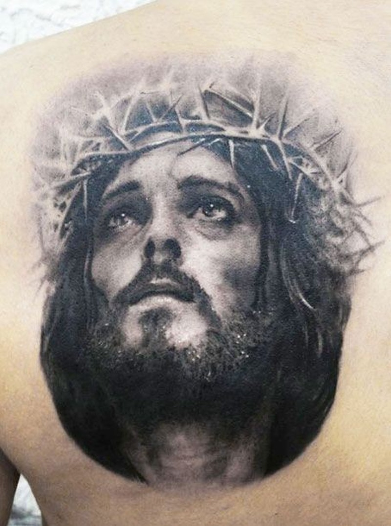 awesome portrait of jesus in a crown of thorns tattoo tattoos book tattoos designs. Black Bedroom Furniture Sets. Home Design Ideas