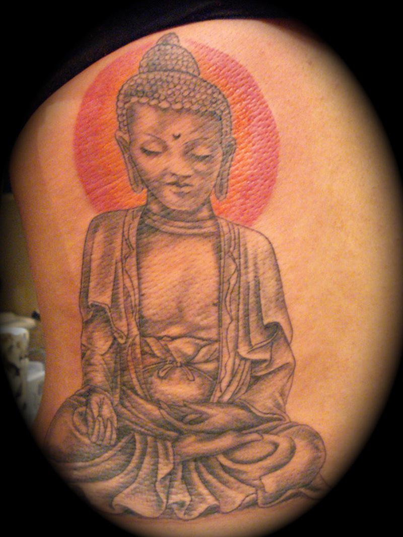 Awesome religious buddha tattoo